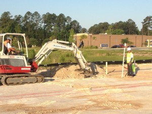 Today, we started digging footings for the Car Wash.  Over 2 1/2 miles of rebar will be used in the foundation and walls!