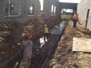 Pouring trench footing