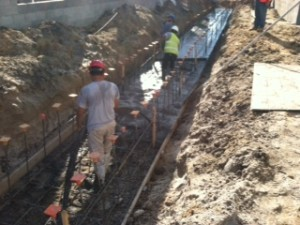 Pouring trench footing1